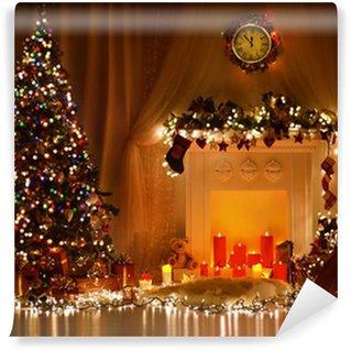 Vinylová Fototapeta Christmas Room Interior Design, vánoční strom zdobí světla