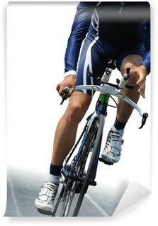 Vinylová Fototapeta Ciclista isolato su sfondo bianco