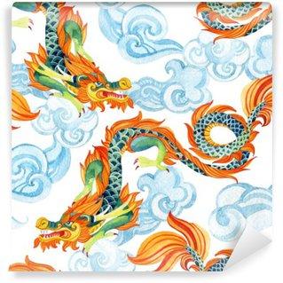 Vinylová Fototapeta Čínský drak bezešvé vzor. Asijské drak ilustrace