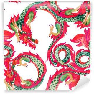 Vinylová Fototapeta Čínský drak bezešvé vzor.