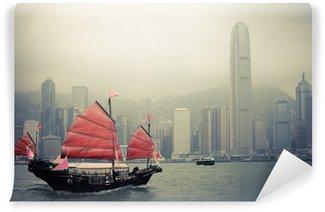Vinylová Fototapeta Čínský styl plachetnice v Hong Kongu