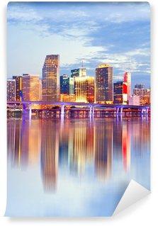 Vinylová Fototapeta City of Miami na Floridě, západ slunce panorama.