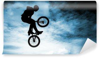 Vinylová Fototapeta Člověk dělá skok s BMX kolo na modrém pozadí oblohy.