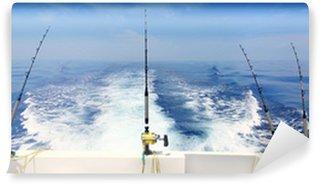 Vinylová Fototapeta Člunu rybářský trolling panoramatické tyč a navijáky modré moře