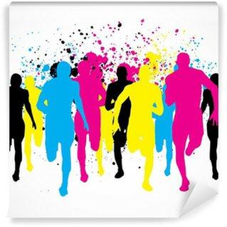 Vinylová Fototapeta CMYK Marathon Runners