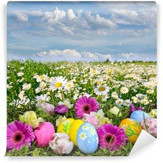 Vinylová Fototapeta Colorful Easter louka s květinami a velikonoční vajíčka