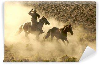 Vinylová Fototapeta Cowboy cvalu a slaňování divokých koní přes poušť