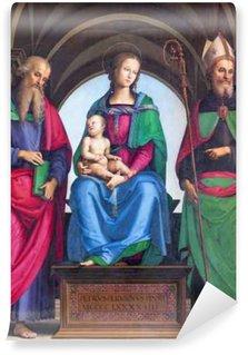 Vinylová Fototapeta Cremona, Itálie - 24.května 2016: dychtivou Madony, sv Jana Evangelisty a sv Augustine Petrus Perusinus (1493) v katedrále Nanebevzetí Panny Marie.