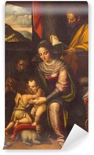 Vinylová Fototapeta Cremona, Itálie - 24.května 2016: Obraz Svaté rodiny s St. Elizabeth a svatého Jana Křtitele v kostele Chiesa di Santa Agata Lucia Anguissola (1535 - 1565).