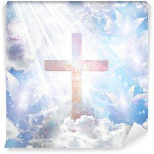 Vinylová Fototapeta Cross a andělské formy