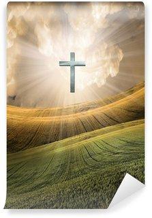 Vinylová Fototapeta Cross vyzařuje světlo na obloze