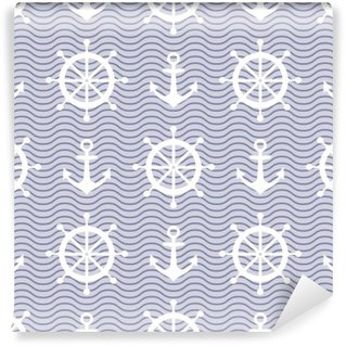Vinylová Fototapeta Cute námořních pozadí. Navy bezproblémové vzor vektor: kotva, vlny a volant.