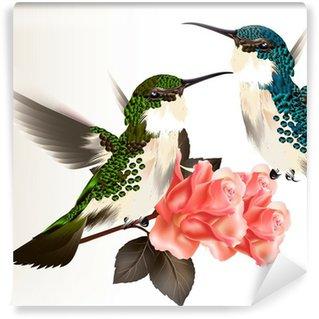 Vinylová Fototapeta Cute valentine karta s pár kolibříka a růží