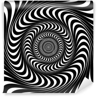 Fototapeta Winylowa Czarne i białe linie wirowe. Złudzenie optyczne tła, wektor