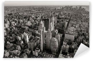 Fototapeta Winylowa Czarno-biały widok z lotu ptaka pejzaż Nowy Jork