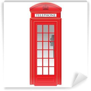 Fototapeta Vinylowa Czerwona budka telefoniczna - londyn - szczegółowe odizolowane ilustracji