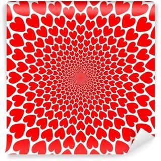 Fototapeta Winylowa Czerwone serce perspektywiczny rogal tło. Walentynki ca