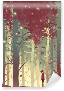 Fototapeta Vinylowa Człowiek stojący w pięknym lesie z opadających liści, ilustracja malarstwo