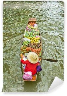 Fototapeta Winylowa Damnoen Saduak pływający targ w Tajlandii