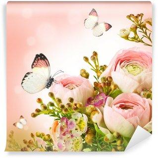 Fototapeta Vinylowa Delikatny bukiet z różowych róż i motyli