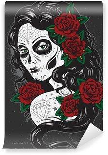 Vinylová Fototapeta Den mrtvých ilustrace dívka tetování
