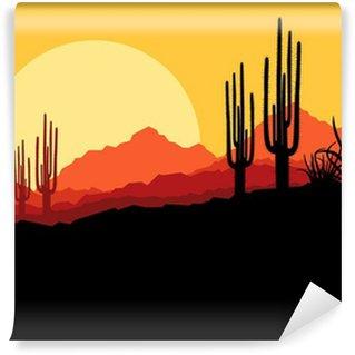 Vinylová Fototapeta Desert divoké přírody krajina s kaktusy a palmy rostliny
