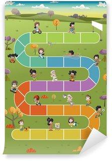Vinylová Fototapeta Desková hra s karikatura děti hrající si na park