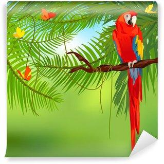 Vinylová Fototapeta Deštný prales a papoušek