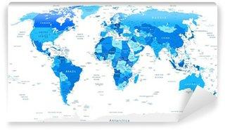 Vinylová Fototapeta Detailní World Map Modrá