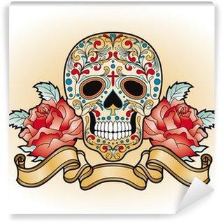 Vinylová Fototapeta Dia de Muertos - lebka s růží