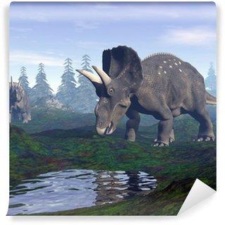 Fototapeta Winylowa Diceratops dinozaurów w góry - 3D render