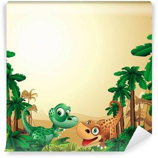 Vinylová Fototapeta Dinosauři Cuccioli Pozadí-baby Dinosaur tropické pozadí
