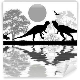 Vinylová Fototapeta Dinosauři siluety