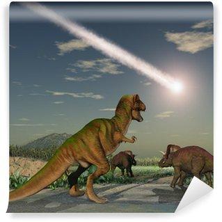 Vinylová Fototapeta Dinosauři sledování pád asteroidu