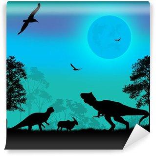 Fototapeta Winylowa Dinozaury sylwetki