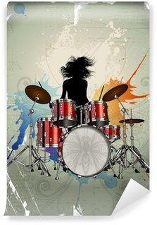Vinylová Fototapeta Dívka hrát na bicí