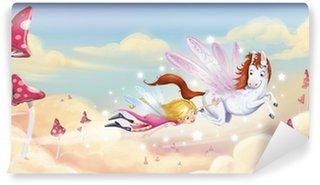 Vinylová Fototapeta Dívka létání s Pegasus