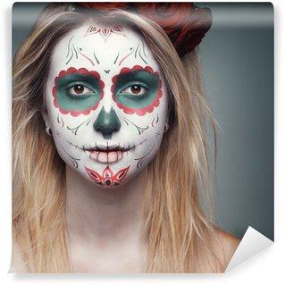 Vinylová Fototapeta Dívka s lebka obličeje make-up