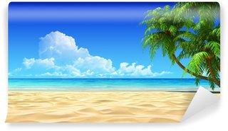 Vinylová Fototapeta Dlaně na prázdné idylické tropické písečné pláže.