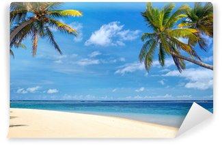 Vinylová Fototapeta Dokonalá tropická pláž s palmami a písku, Mauritius
