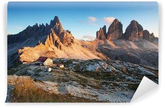 Vinylová Fototapeta Dolomity horské panorama v Itálii při západu slunce - Tre Cime
