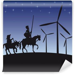 Vinylová Fototapeta Don Quijote vektorové ilustrace kreslený siluetu