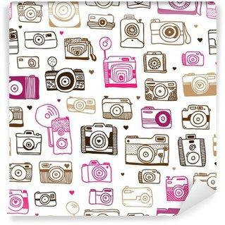 Fototapeta Winylowa Doodle powtarzalne wzór aparat fotograficzny w wektorze