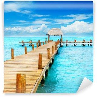 Vinylová Fototapeta Dovolená v Tropic ráji. Jetty na Isla Mujeres, Mexiko