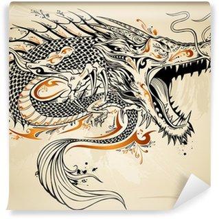 Vinylová Fototapeta Dragon Doodle skica tetování vektor