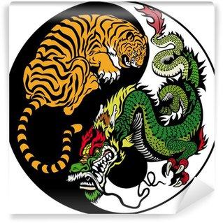 Vinylová Fototapeta Drak a tygr yin yang symbol