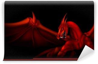 Vinylová Fototapeta Drak červená na černé
