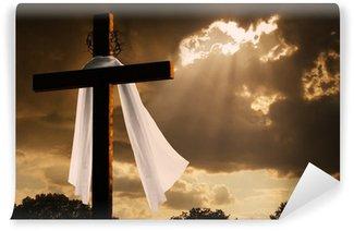 Vinylová Fototapeta Dramatické osvětlení na Velikonoční kříž jako bouřkové mraky Přestávka