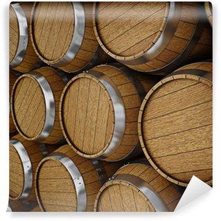 Vinylová Fototapeta Dřevěné dubové brandy víno pivní sudy řádky