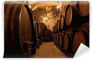 Vinylová Fototapeta Dřevěné sudy s vínem v vinotéky, Itálie